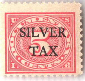 1934 5c Silver Tax, carmine rose, perf 11