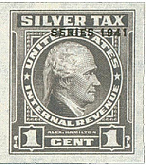 1941 1c Silver Tax, gray, overprint '1941'