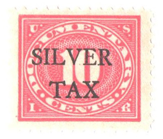 1934 10c Silver Tax, carmine rose, perf 11