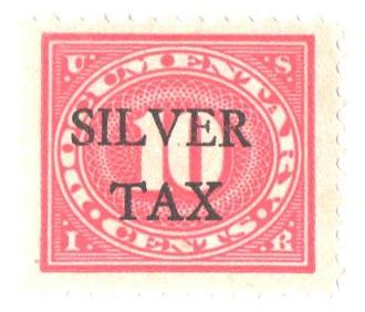 1934 10c Silver Tax, carmine rose, perf 11