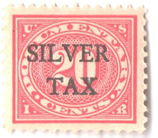 1934 20c Silver Tax, carmine rose, perf 11