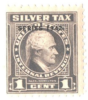 1942 1c Silver Tax, gray, overprint 1942
