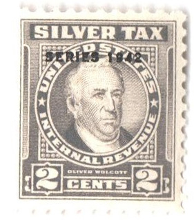 1942 2c Silver Tax, gray, overprint 1942