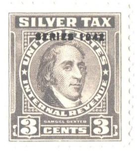 1942 3c Silver Tax, gray, overprint 1942