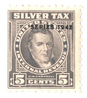 1942 5c Silver Tax, gray, overprint 1942