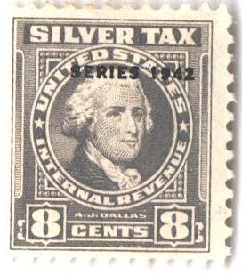 1942 8c Silver Tax, gray, overprint 1942