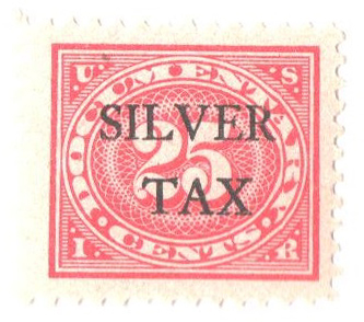1934 25c Silver Tax, carmine rose, perf 11