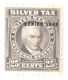 1942 25c Silver Tax, gray, overprint 1942