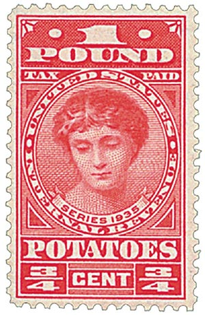 1935 3/4c Potato Tax Stamp - carmine rose, engraved, unwatermarked, perf 11