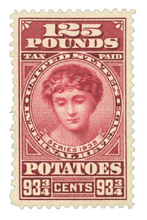 1935 93 3/4c Potato Tax Stamp - rose lake, engraved, unwatermarked, perf 11