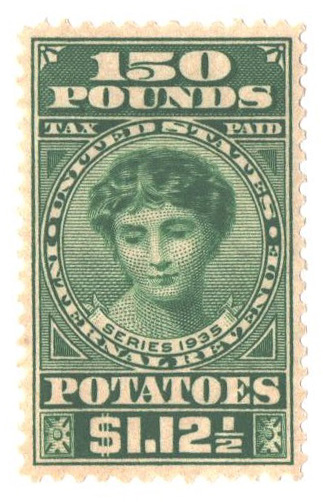 1935 $1.12 1/2c Potato Tax Stamp - green, engraved, unwatermarked, perf 11