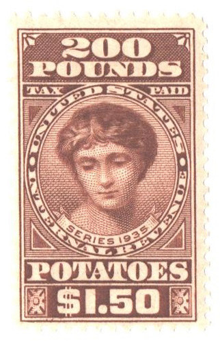 1935 $1.50 Potato Tax Stamp - yellow-brown, engraved, unwatermarked, perf 11