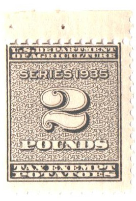 1935 2lb Potato Tax Stamp - blue-brown, engraved, unwatermarked, perf 11x10 1/2