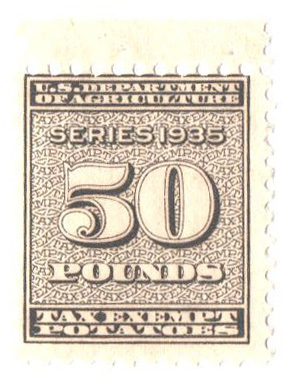 1935 50lb Potato Tax Stamp - blue-brown, engraved, unwatermarked, perf 11