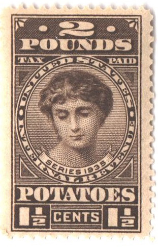 1935 1 1/2c Potato Tax Stamp - black-brown, engraved, unwatermarked, perf 11