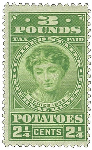 1935 2 1/4c Potato Tax Stamp - yellow-green, engraved, unwatermarked, perf 11