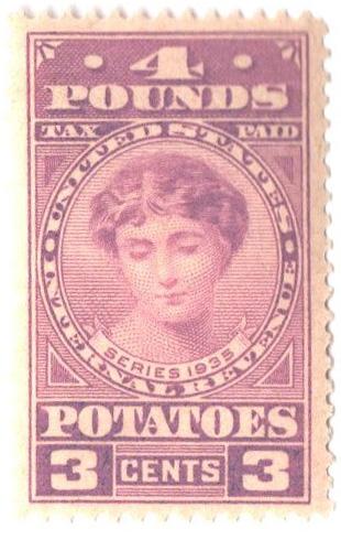 1935 3c Potato Tax Stamp - lt violet, engraved, unwatermarked, perf 11
