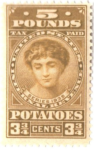 1935 3 3/4c Potato Tax Stamp - olive-bister, engraved, unwatermarked, perf 11