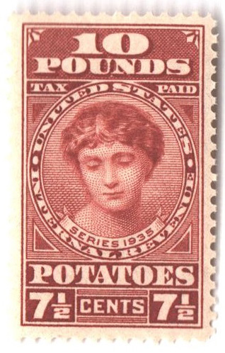 1935 7 1/2c Potato Tax Stamp - orange-brown, engraved, unwatermarked, perf 11