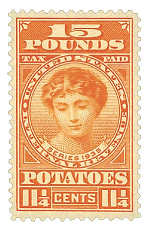 1935 11 1/4c Potato Tax Stamp - deep-orange, engraved, unwatermarked, perf 11