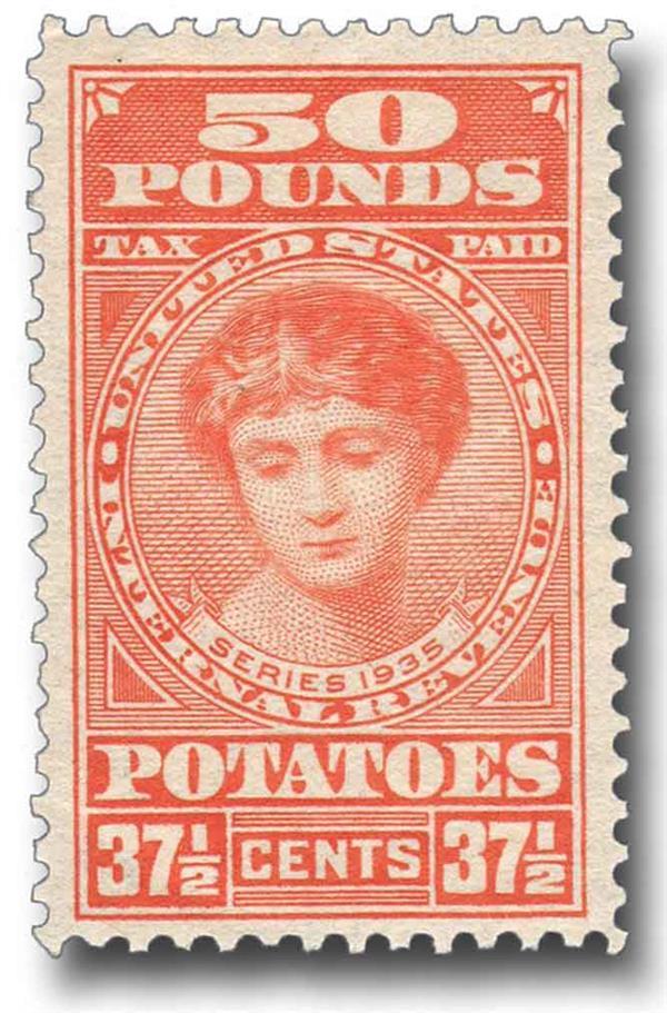 1935 37 1/2c Potato Tax Stamp - red-orange, engraved, unwatermarked, perf 11