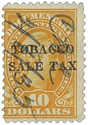 1934 $10 org, engr, dl wmk, perf 11