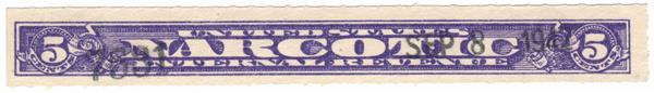1919-70 Narc.Tax Stamp-5c Viol.-Roulette