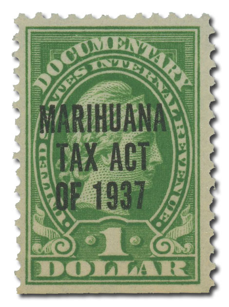 1937 $1 Marihuana tax, yellow green