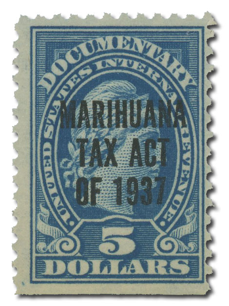 1937 $5 Marihuana tax, blue