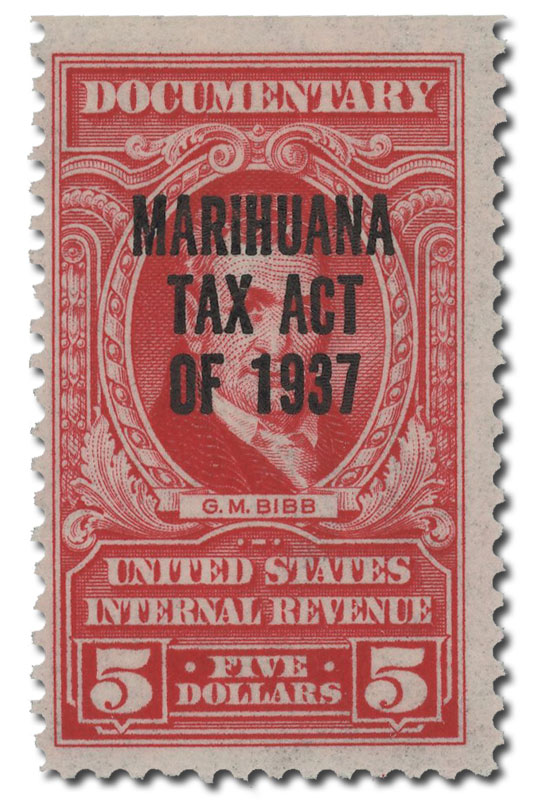 1962 $5 2nd Issue Marihuana tax stamp