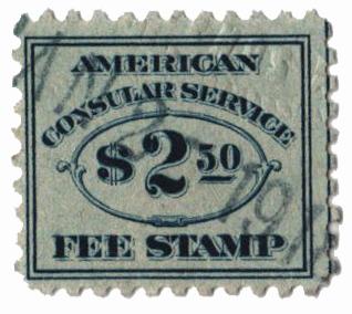 1906 $2.50 dk bl, fee stamp, perf 10