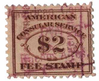 1906 $2 brn, fee stamp, perf 11