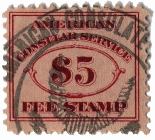 1906 $5 brn red, fee stamp, perf 11