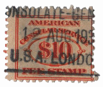 1906 $10 org, fee stamp, perf 11