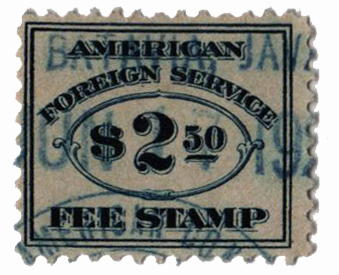 1924 $2.50 bl, fee stamp, perf 11