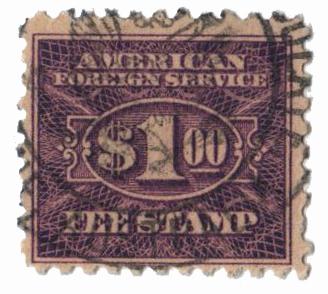 1925-52 $1 vio, fee stamp, perf 10