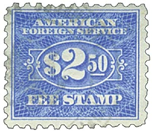 1925-52 $2.50 ultra, fee stamp, perf 10