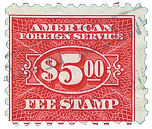 1925-52 $5 carmine, fee stamp