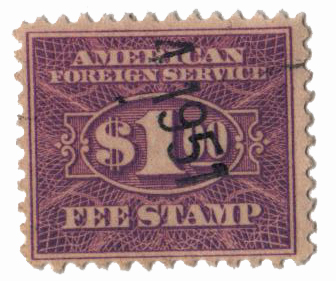 1925-52 $1 vio, fee stamp, perf 11