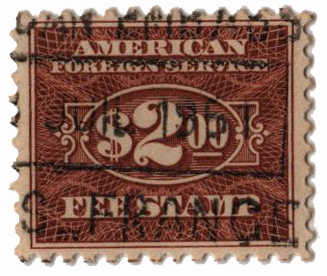 1925-52 $2 brn, fee stamp, perf 11