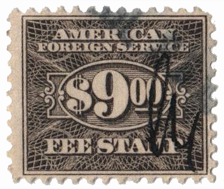 1925-52 $9 gray, fee stamp, perf 11
