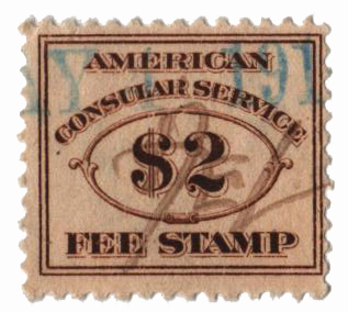1906 $2 brn, fee stamp, perf 12