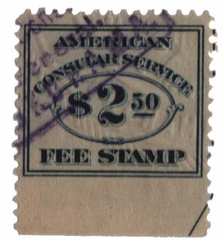 1906 $2.50 dk bl, fee stamp, perf 12