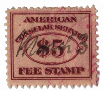 1906 $5 brn red, fee stamp, perf 12