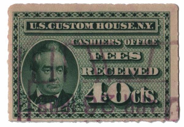 1887 40c grn, custom fees