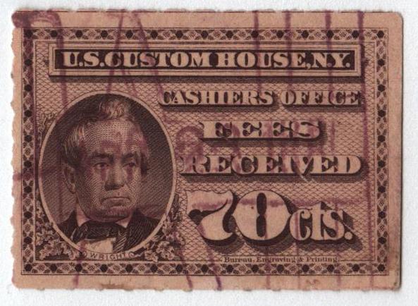 1887 70c brn vio, custom fees