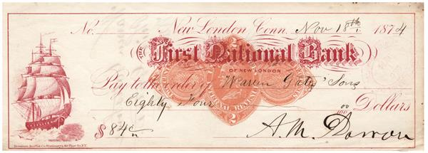 2c Orange, Franklin, Type D on First National Bank of New London, CT, Red Printed Draft