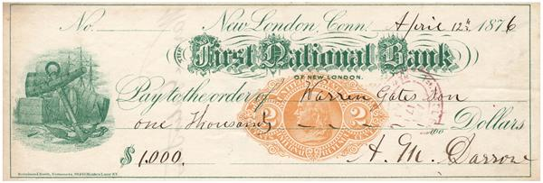 2c Orange, Franklin, Type F on First National Bank of New London, CT, Green Printed Draft