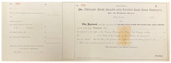 5c Orange, Lincoln, Type P on Fractions Agreement from Office of Chicago, Rock Island and Pacific Railroad Company