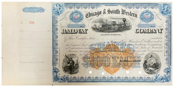 25c Orange, Franklin, Type U on Stock Certificate from Chicago and South Western Railway Company